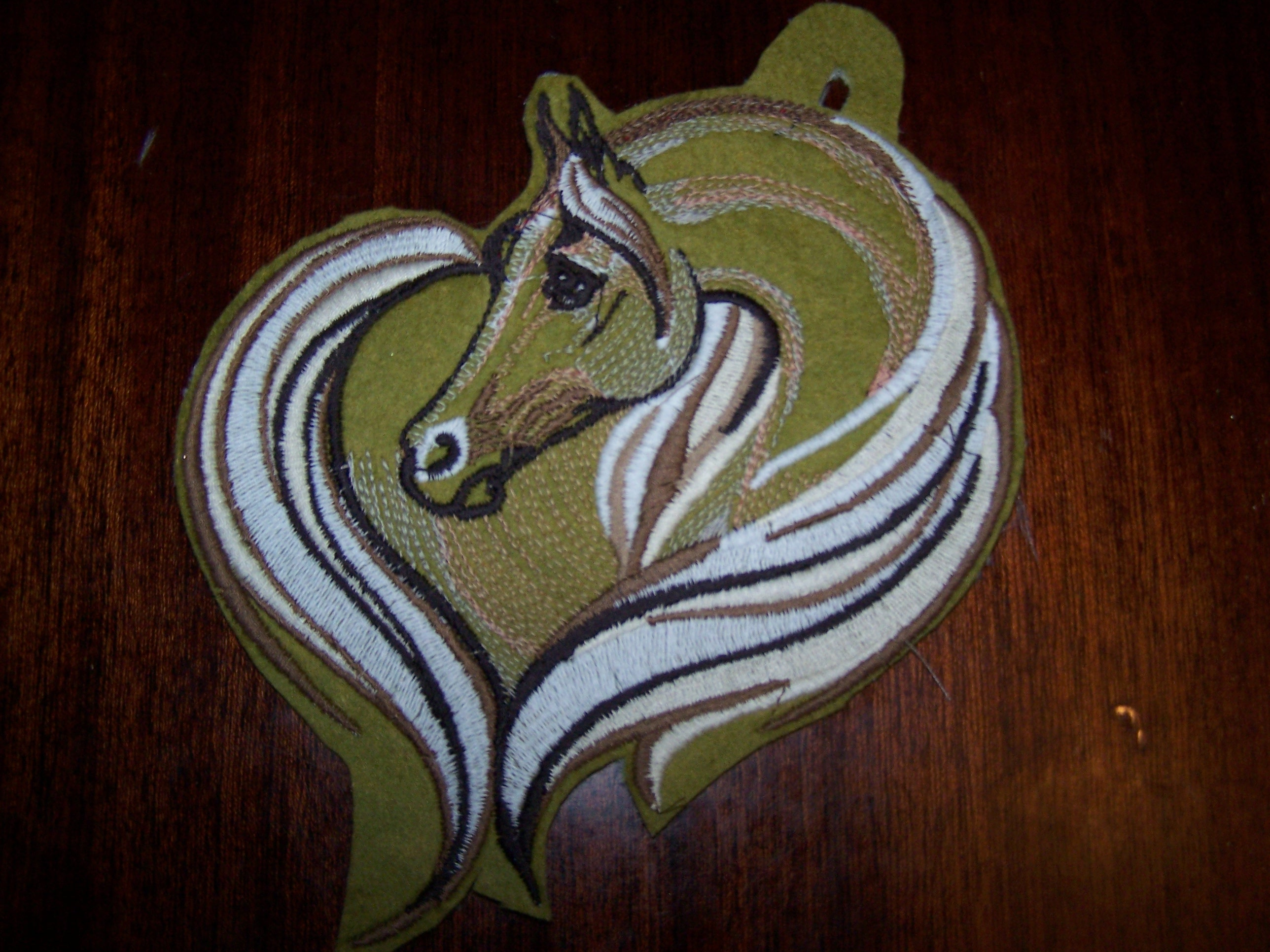 Horse heart design embroidered
