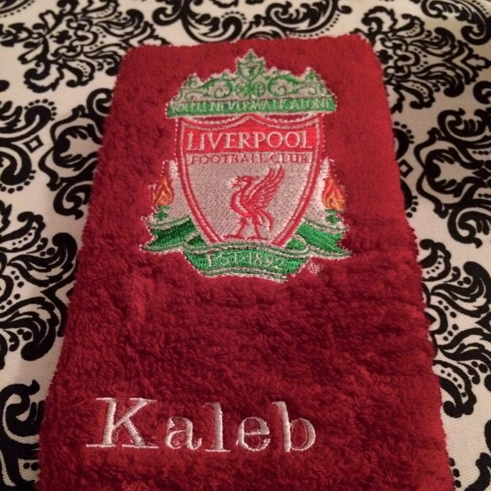 Liverpool Football Club logo embroidered on red bath towel