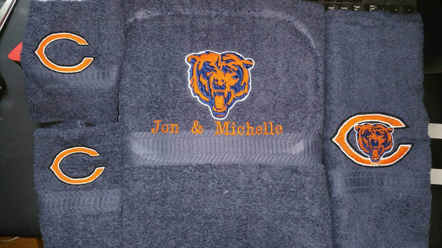 Embroidered Chicago Bears Logo designs on towel