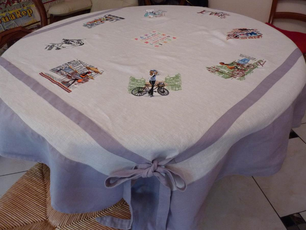 tablecloth with paris travel embroidery designs