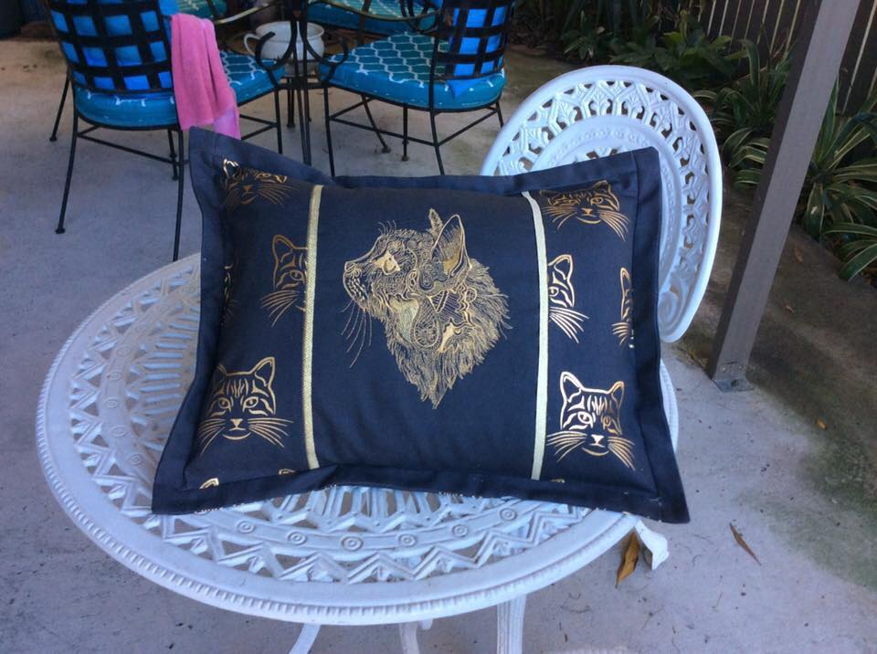 Embroidered cushion with fancy sketch design