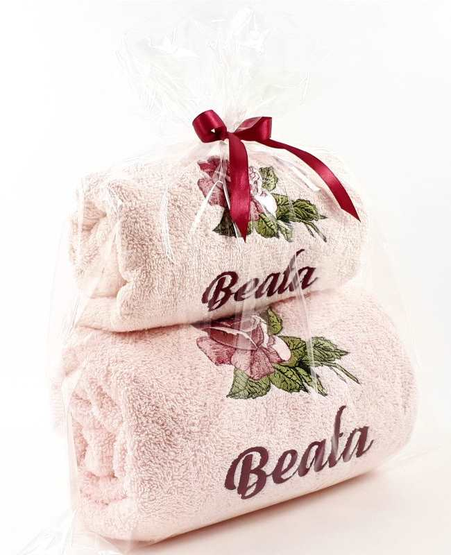 Gift set with embroidered bath towels