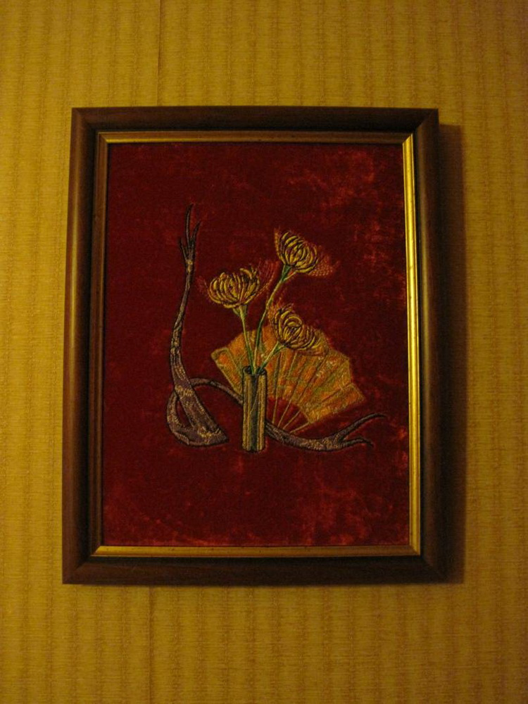 Embroidred Oriental composition with flowers design in frame