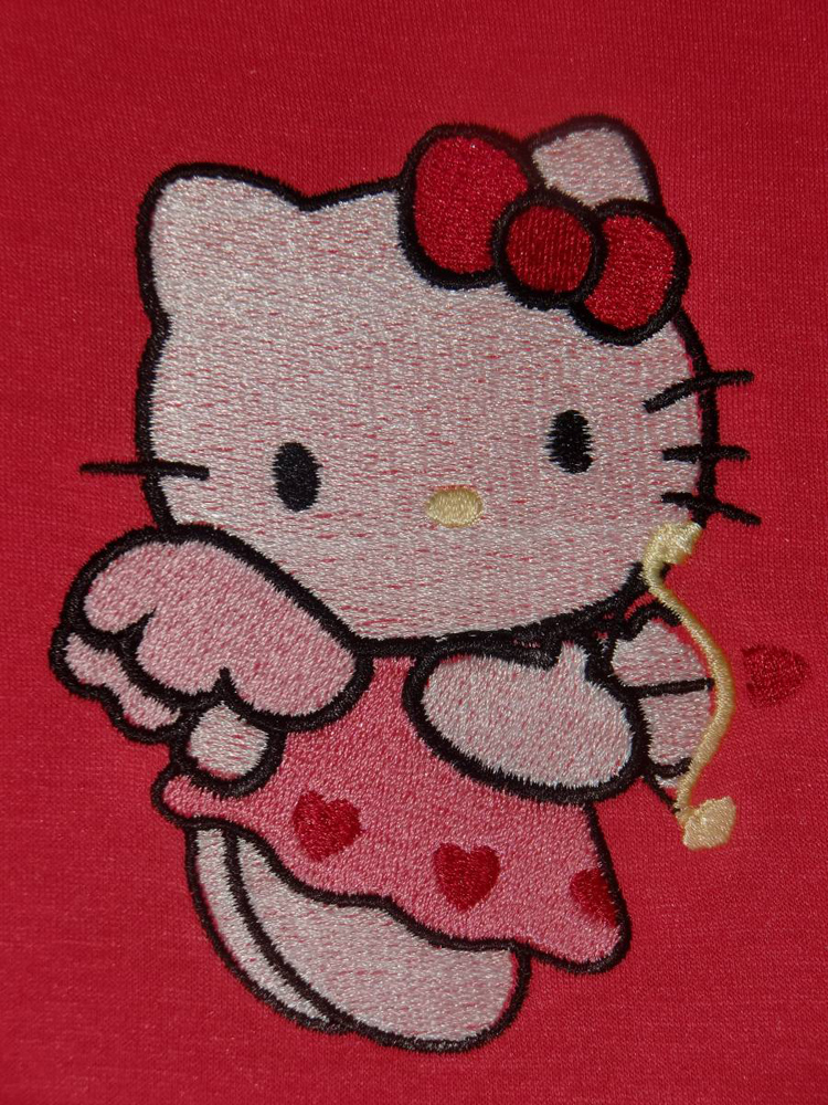 Hello Kitty cupid embroidered design