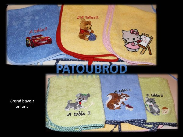 Winnie, Hello Kitty and animals embroidered on baby bibs
