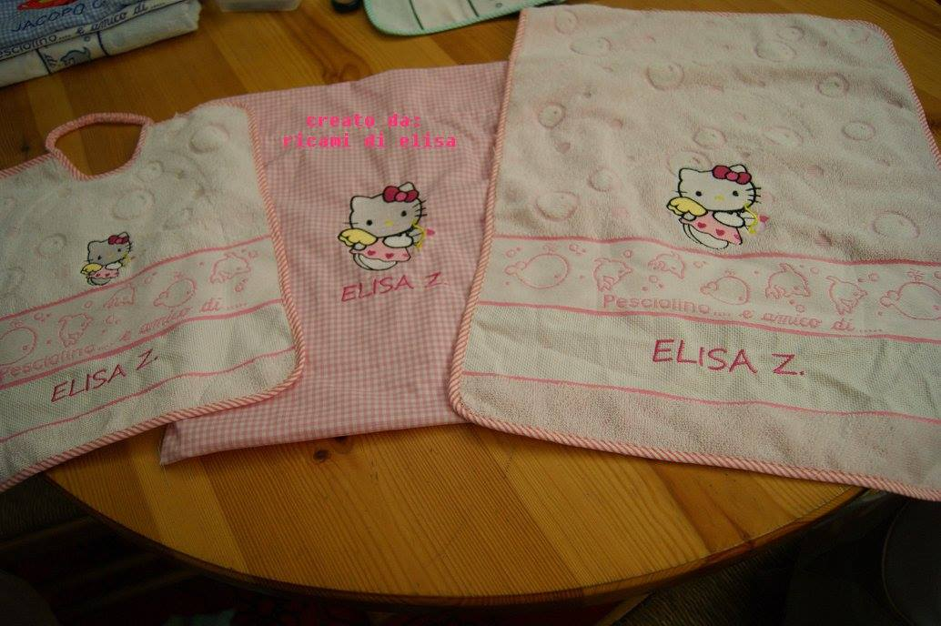 Hello Kitty Cupid design embroidered  on towels and bib