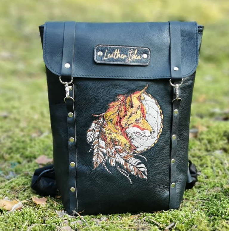 Leather handbag with fox and feathers embroidery design