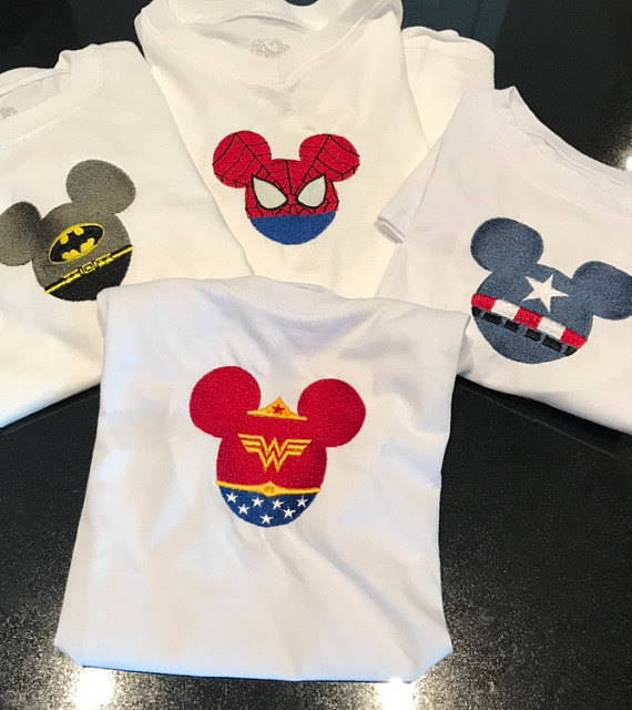 T-shrrts with Mickey Mouse super heroes embroidery designs