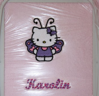 Girlish towel with Hello Kitty embroidered on it