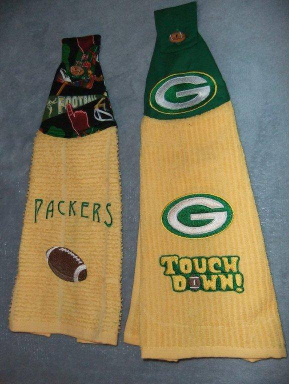 Green Bay Packers Logo on yellow embroidered towel