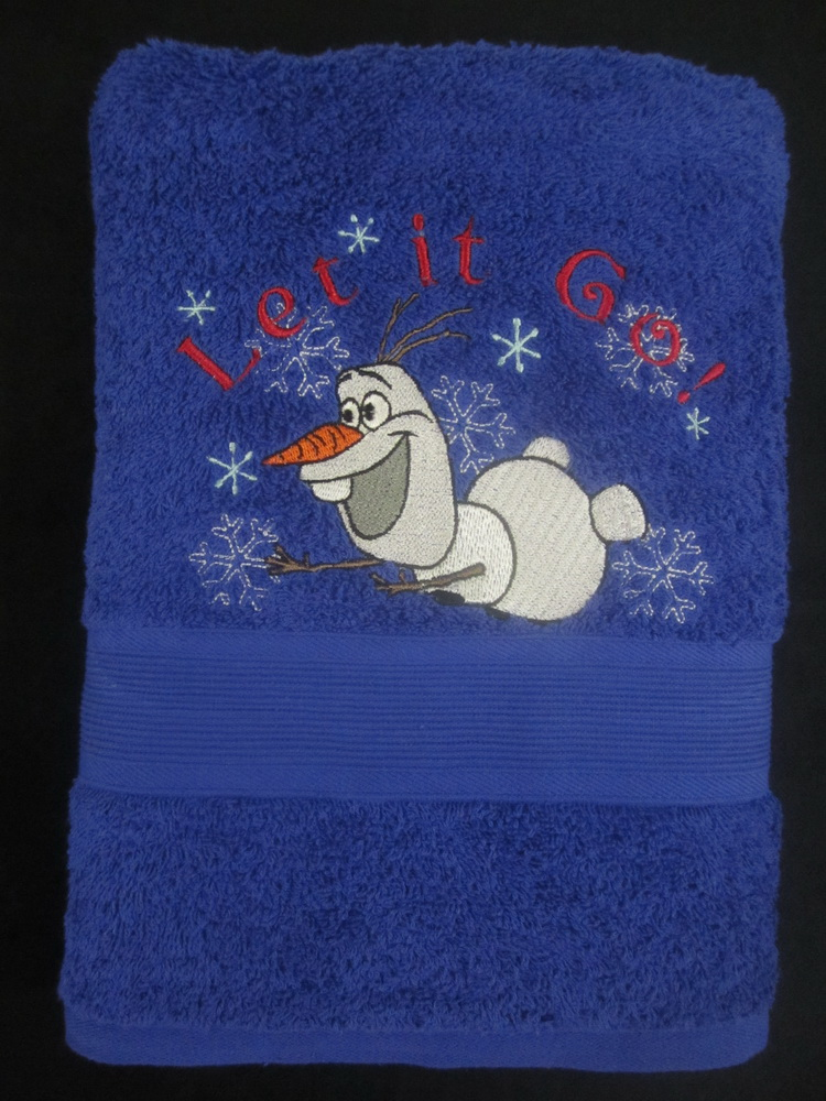 Olaf flying design on embroidered bath towel