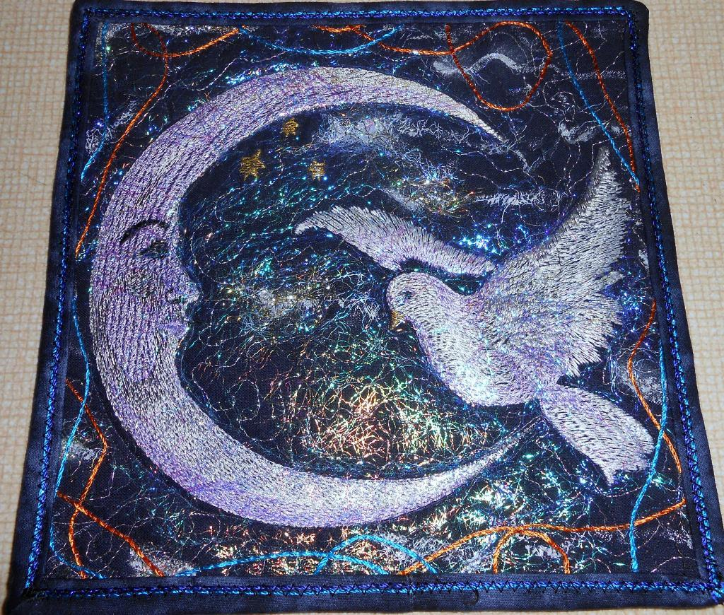 Crescent and dove quilt free embroidery