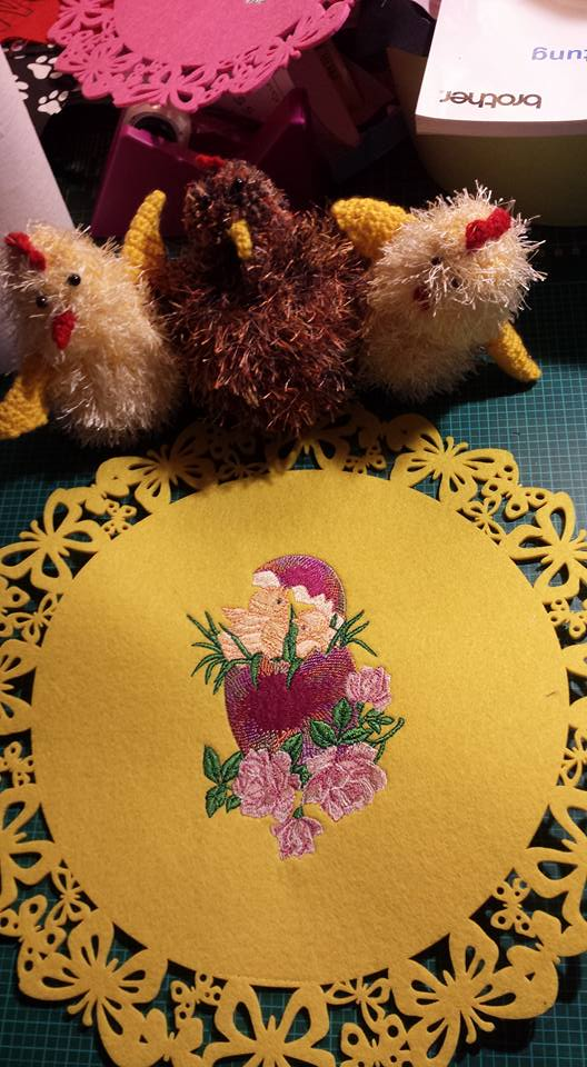 Easter napkin with chickens free embroidery design