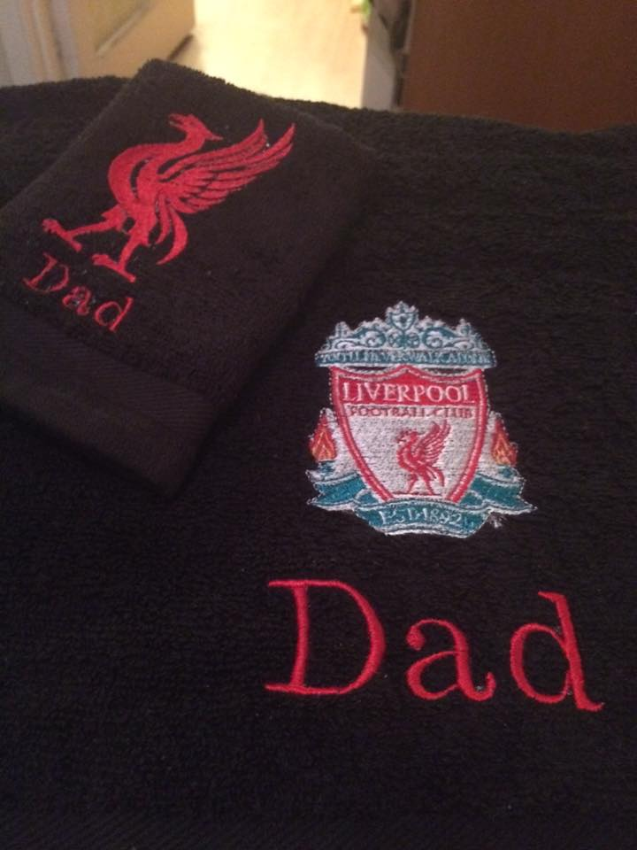 Bath towel with Liverpool machine embroidery design