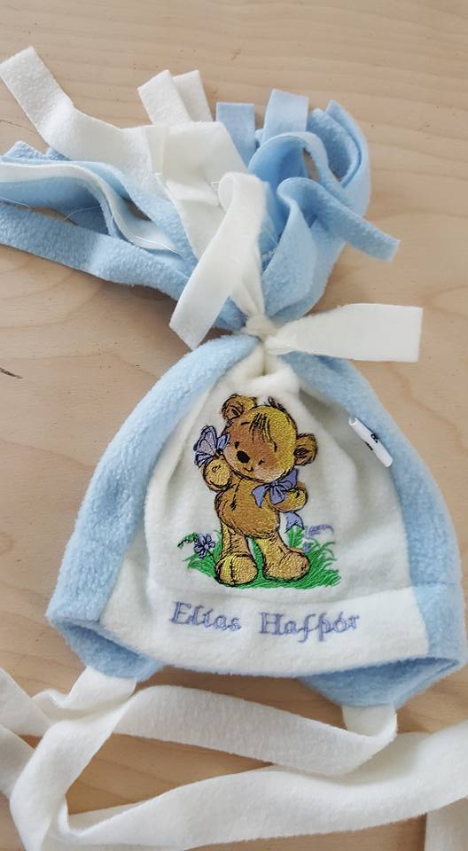 Winter hat with Teddy bear playing butterfly embroidery design