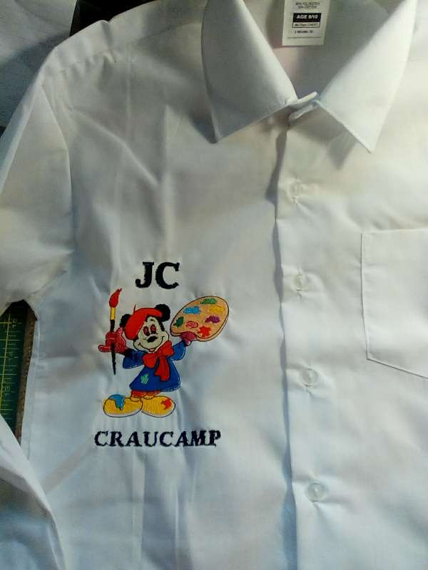 Shirt with Mickey Mouse painter machine embroidery design