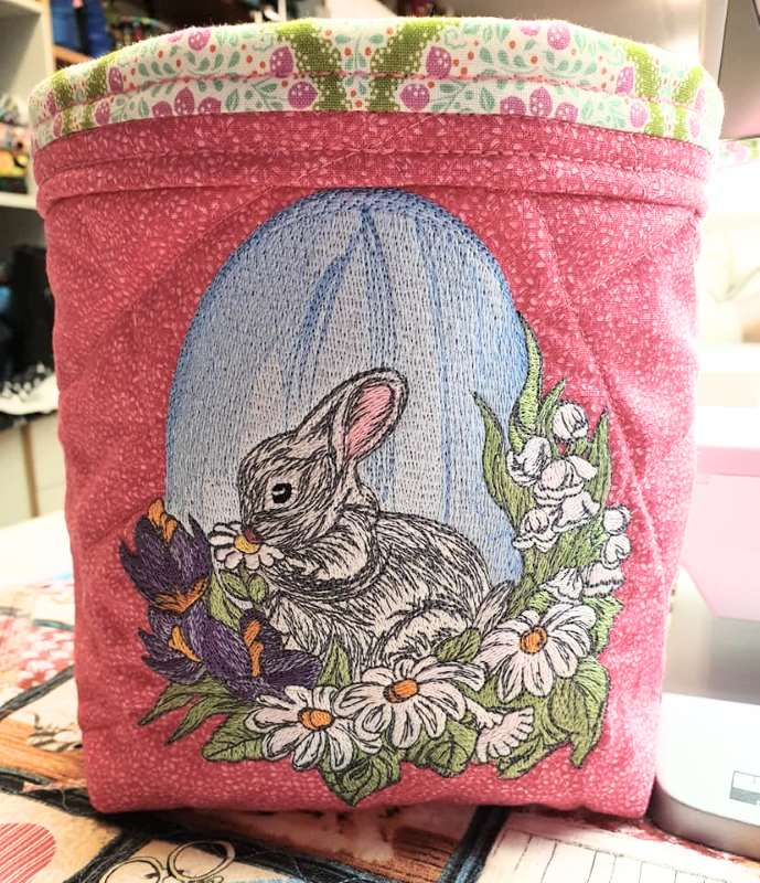 Easter soft basket with bunny and egg design
