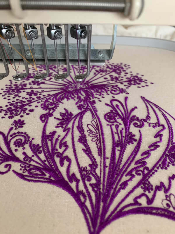 Embroidery process flower design