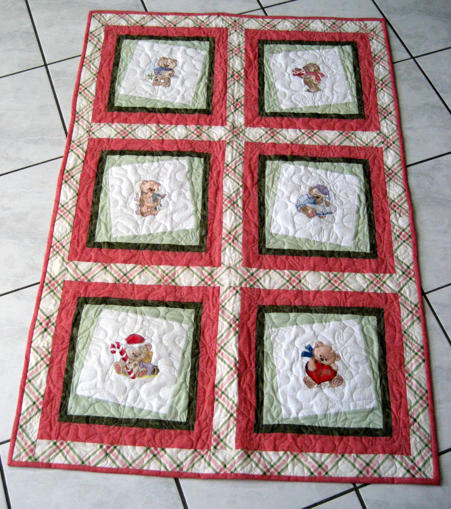 Big quilt with Teddy Bear machine embroidery designs