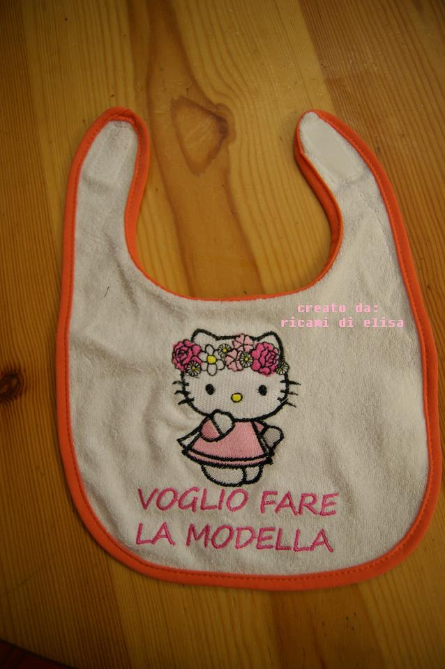 Baby bib embroidered with Hello Kitty spring design