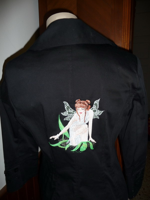 Embroidered Forest queen design on jacket