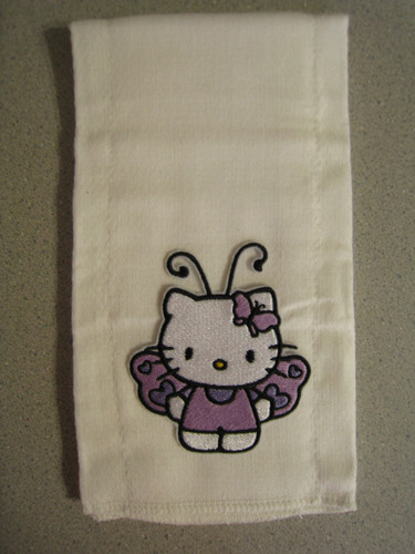 Hello Kitty butterfly design embroidered on towel
