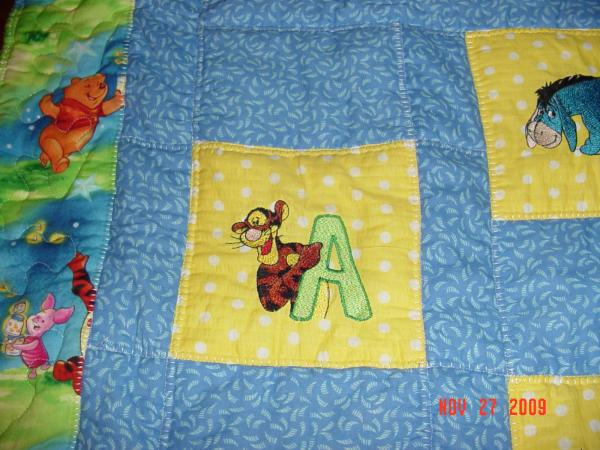 Tigger letter A design on quilt embroidered