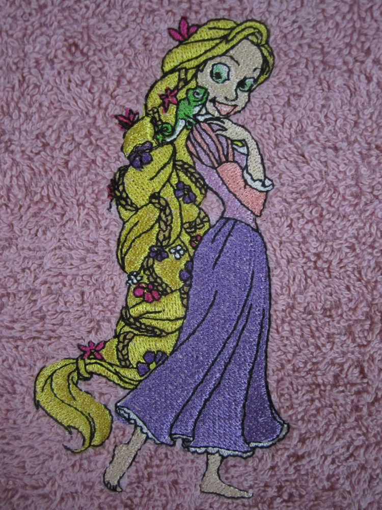 Violet bath towel embroidered with Tangled Beautiful design