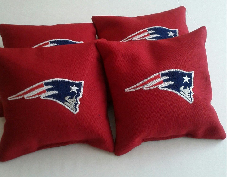 Embroidered New England Patriots logo on pillowcase