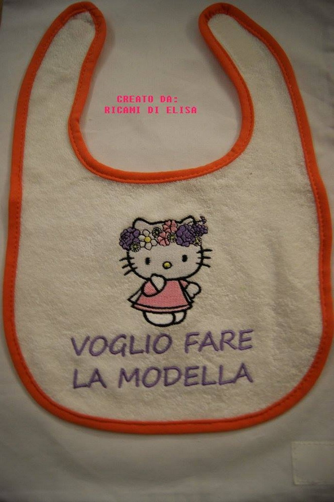 Hello Kitty Spring embroidered on baby bib