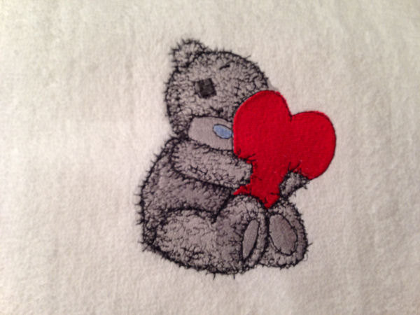 Teddy Bear embroidered on towel