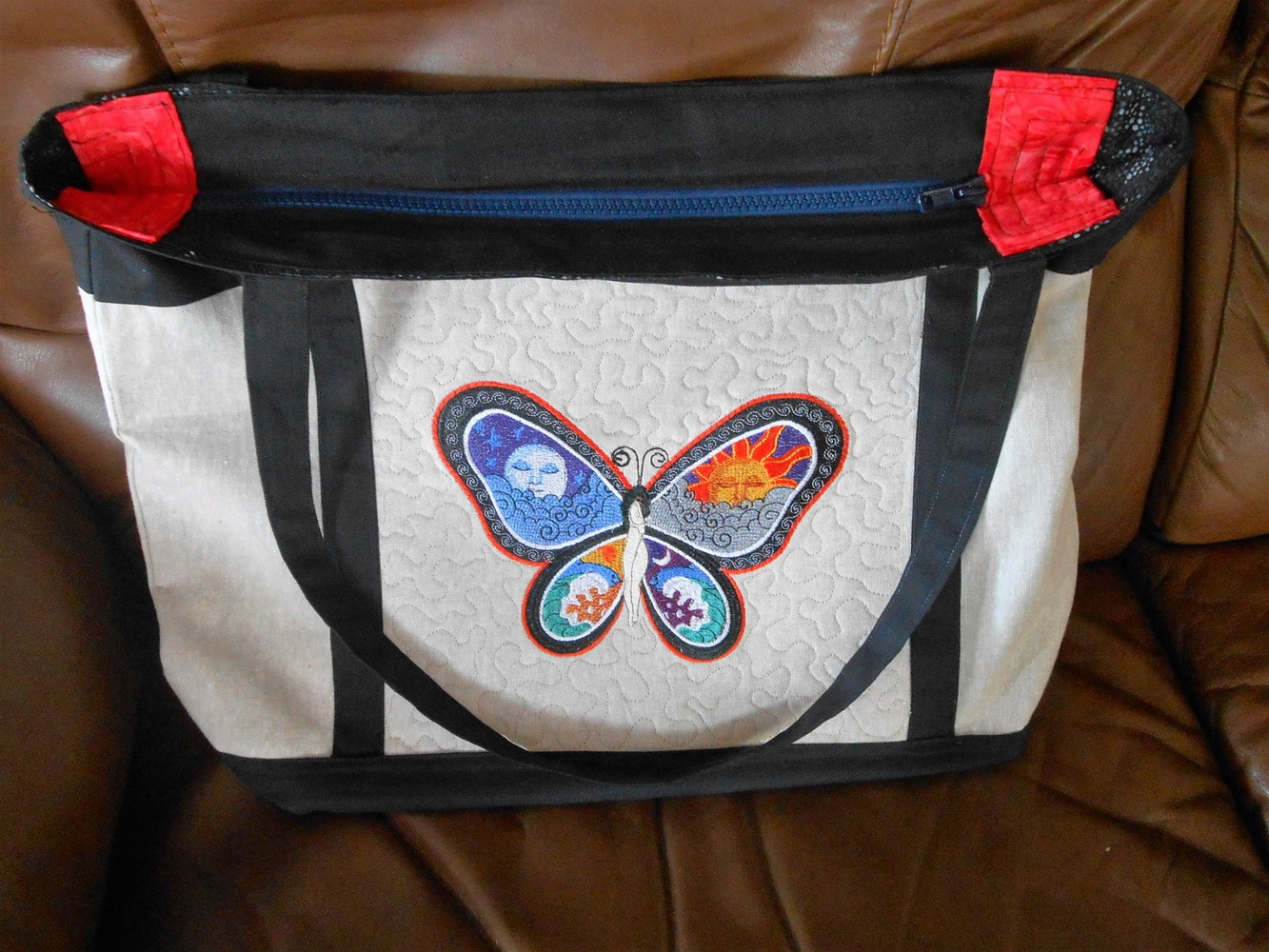 Summer bag with embroidered fantastic butterfly