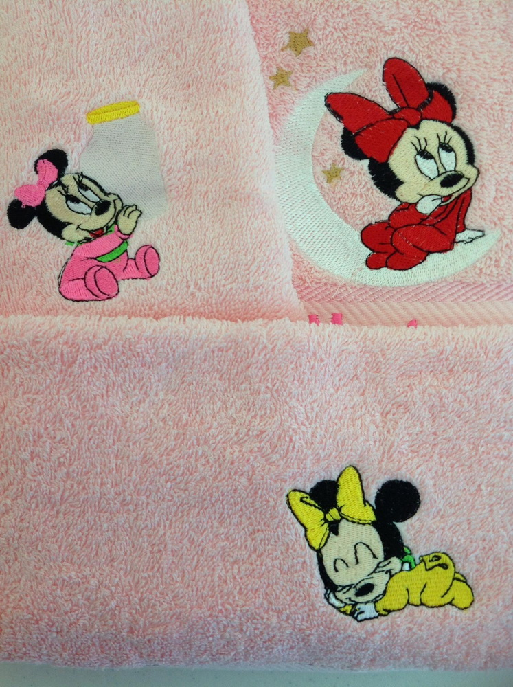 Minnie Mouse embroidery designs on towels