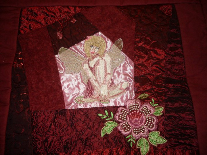 Quilt block with Modern Fairy embroidery design