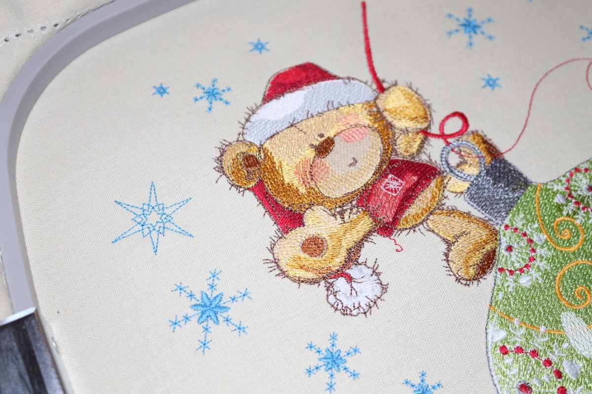 Christmas gift with embroidery design