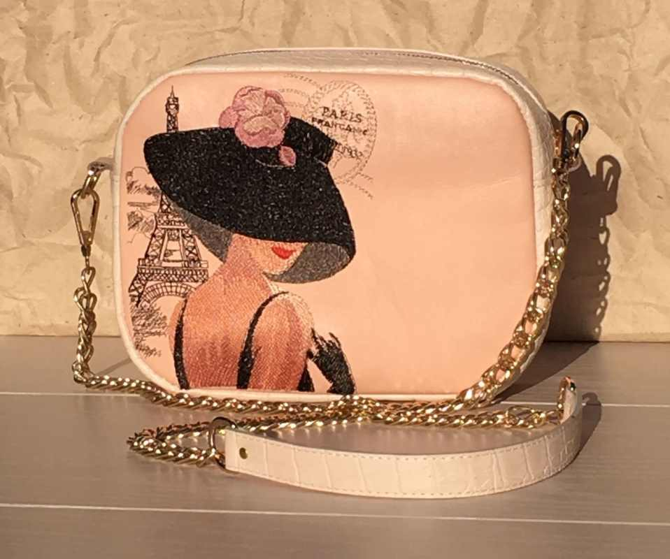 Embroidered bag with french coquette design