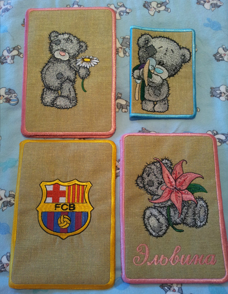 Teddy bear designs embroidered on newborn cover