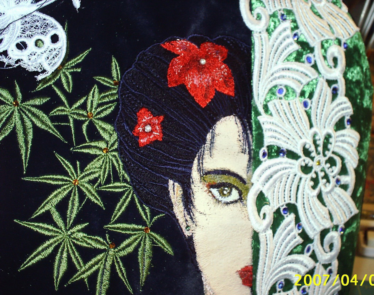 Bag embroidered with geisha design