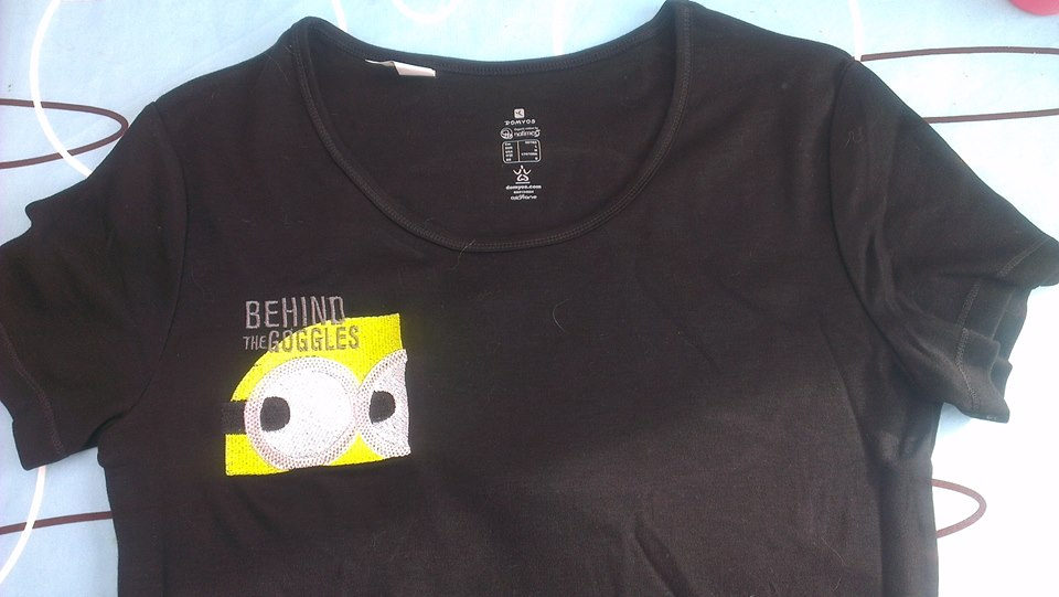 Embroidered shirt with minion design