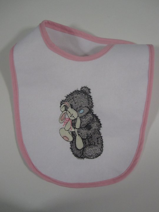 Cute blue nose bear embroidered on baby bib