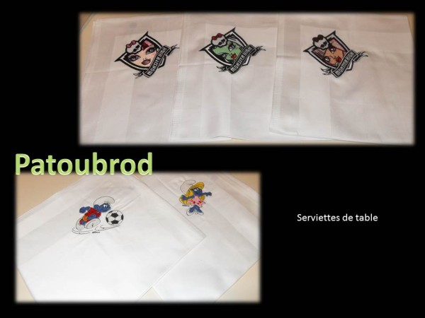 Embroidered  tablecloth with Smurfs and Monster High designs