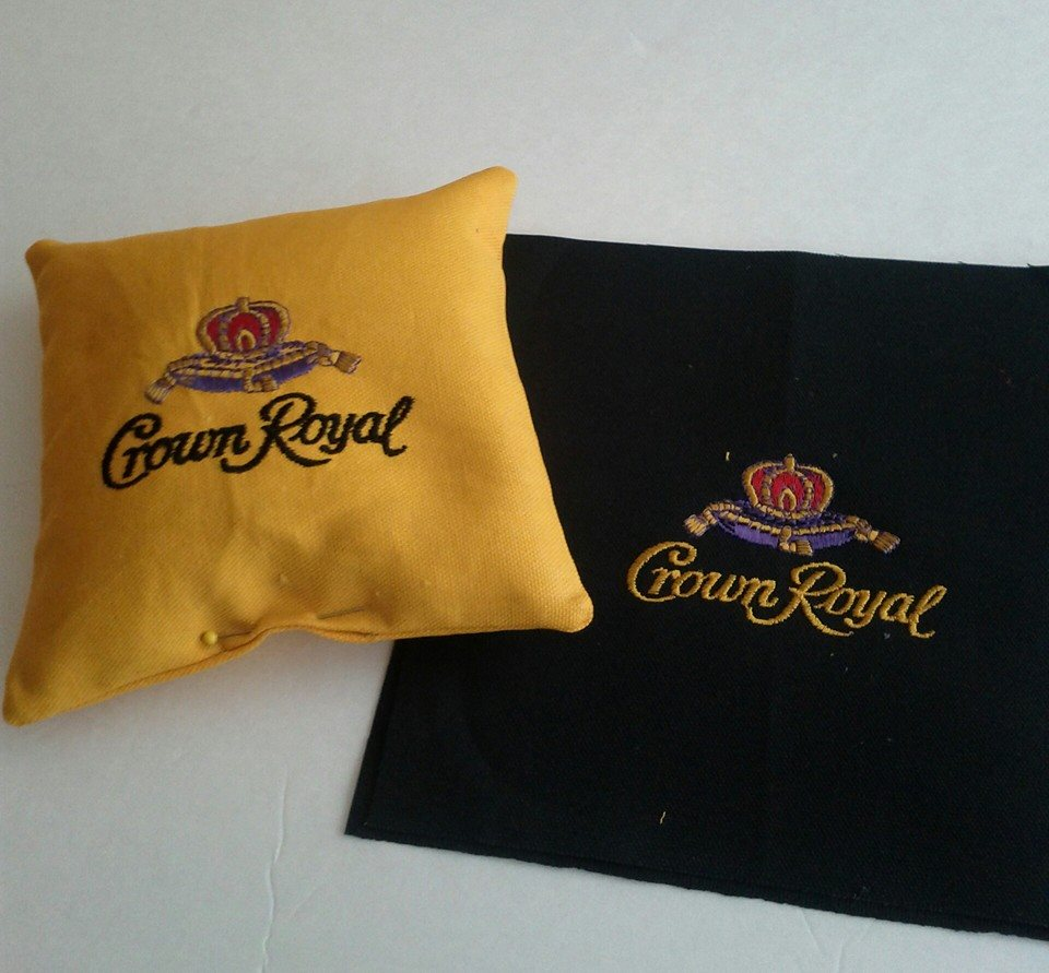 Crown Royal Maple design on pillowcase embroidered