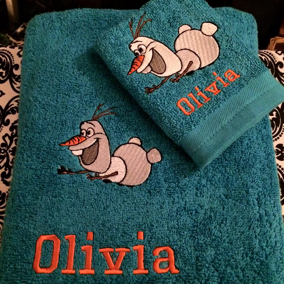 Embroidered Olaf flying design on towel