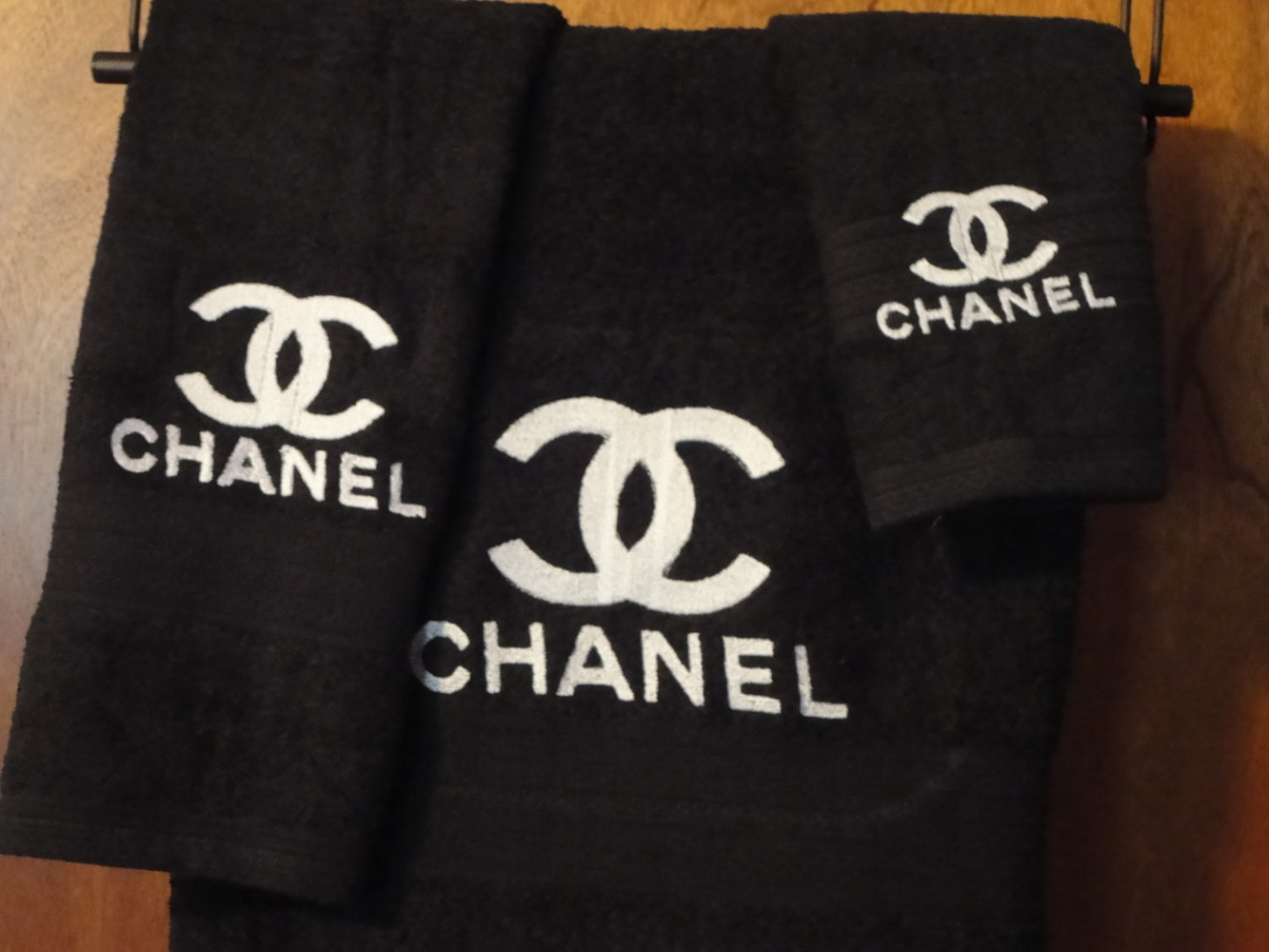 Сhanel logo on towel embroidered
