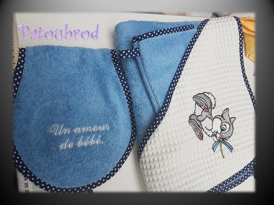 Thumper with dragonfly design on towel embroidered