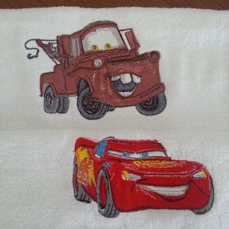 Cars embroidered towels design