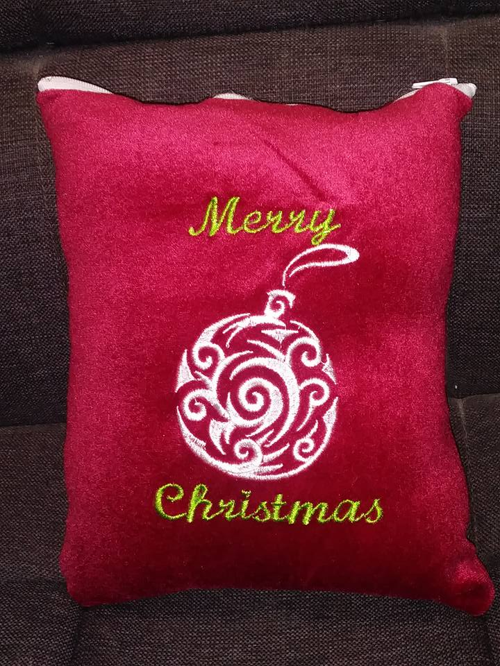 Cushion with Christmas ball free embroidery design