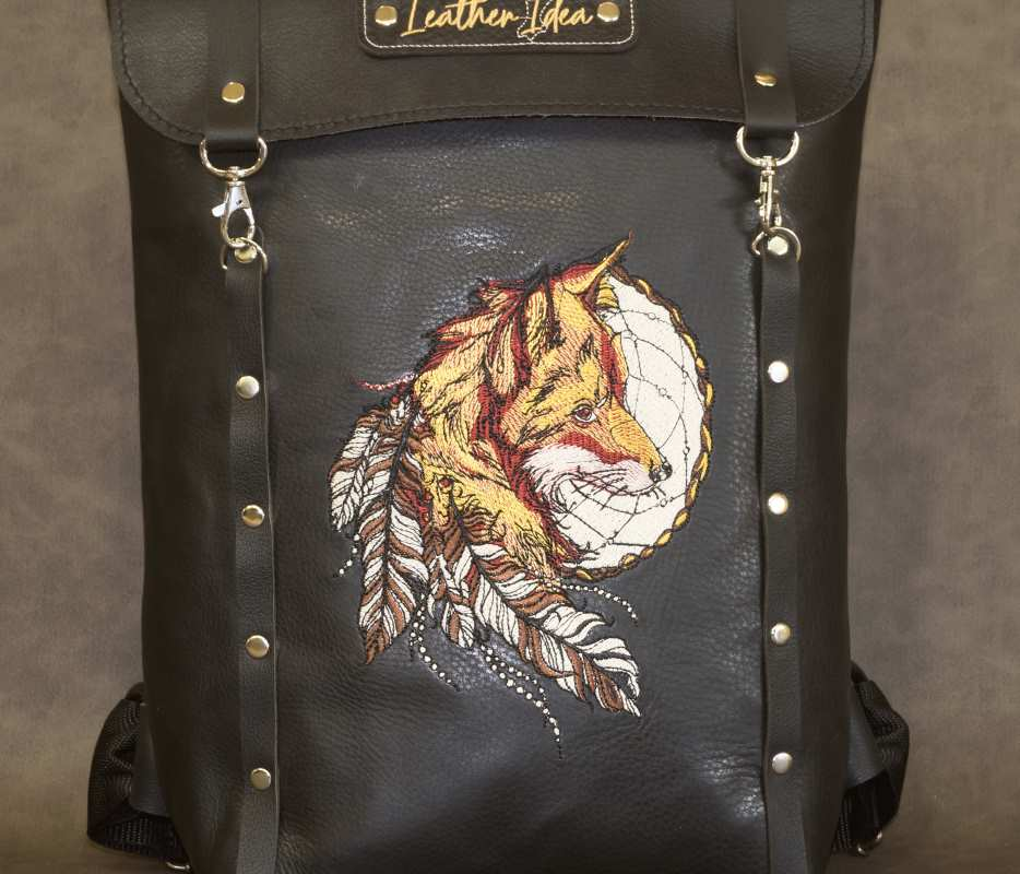 Embroidered leather handbag