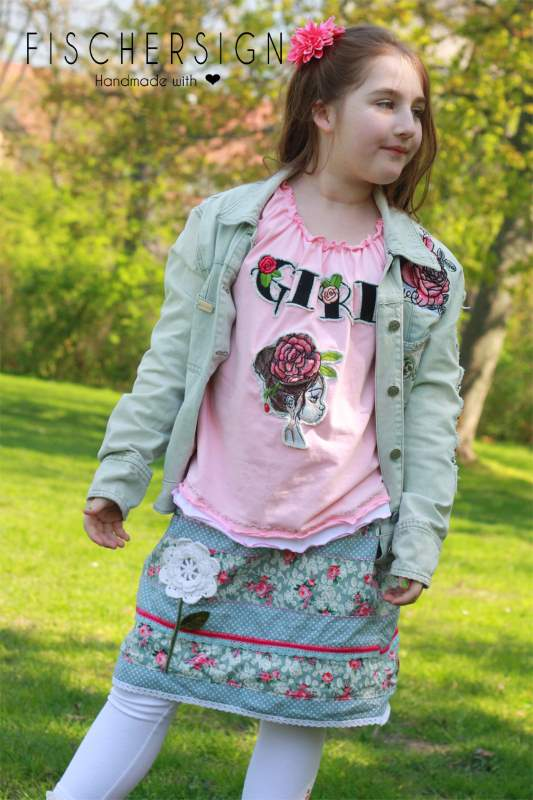 Embroidered shirt and jacket for girl