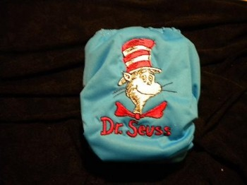Embroidered nappy cover with Cat in the hat design